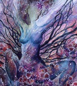 Woman in tree artwork - divine feminine
